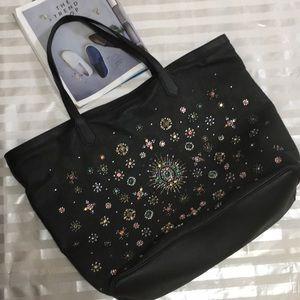 Handbags - Black Stone Studded Leather Tote